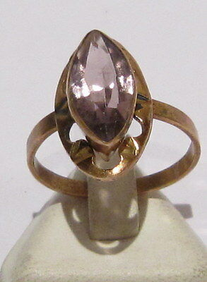 Vintage Nice Russian Bronze Ring,gold Plated With Synthetic Amethyst Stone # 372
