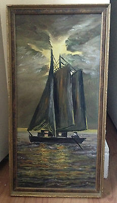 Antique Vintage Painting on board Signed Boat in the sea