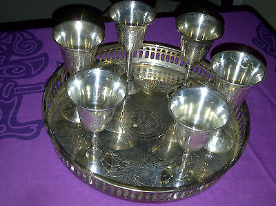 "Vintage ""MaxBen"" Silver Plated Cherry Cups & Tray"