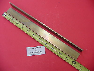 """2 Pieces 1/8"""" x 1"""" C360 BRASS FLAT BAR 12"""" long Solid Plate .125"""" Mill Stock H02"""