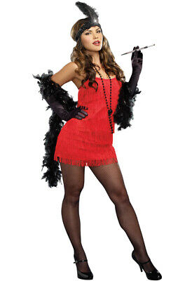 Brand New 1920s Basic Fashion Flapper Dress Up Adult Costume - Red
