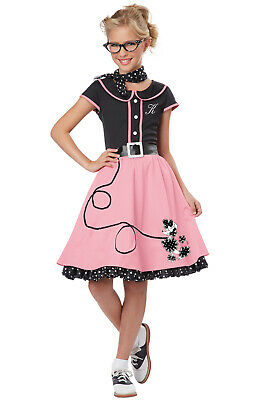 Brand New 50's Sweetheart Poodle Skirt Grease Dress Outfit Child Costume