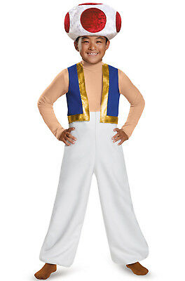 Brand New Super Mario Brothers Toad Deluxe Child Costume