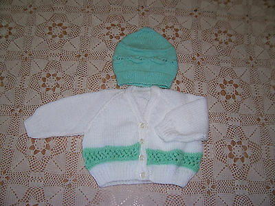 New Hand Knitted Cardigan  And Cap White With Green Trim 6-9 Months Approx