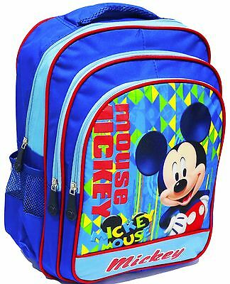 New Large Kids School Backpack Bag Boys Girls Mickey Mouse Blue Daycare Children