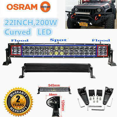 "Xmas! LED Combo Work Curved  Light Bar 200W 22"" Offroad Driving 4WD Truck ATV"