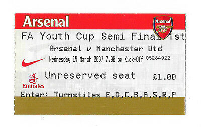 Arsenal v Manchester United, 2006/07 - FA Youth Cup Semi-Final Match Ticket.