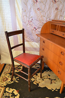 Edwardian Student Occasional Bedroom Chair Chilli Red Leather Like Seat Mahogany