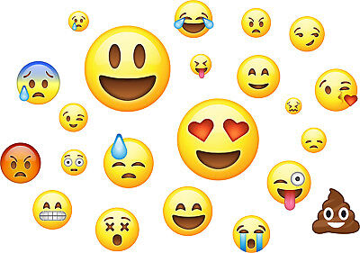 Emoji Pack of 22 - Wall Art Stickers Emoticon Emojis Faces Bedroom Murals Decals