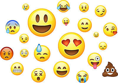 Emojis Pack of 22 - Wall Art Stickers Emoticon Funny Emoji Faces Bedroom Decals