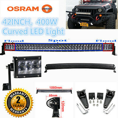 "Xmas! 400W 42"" Curved LED Combo Work Light Bar Offroad Driving 4WD Truck ATV"