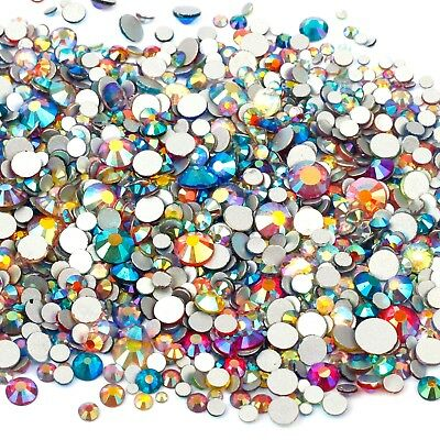 1440x Flat Back Glass Crystal Clear and AB Rhinestones Mixed Size 2mm-6mm