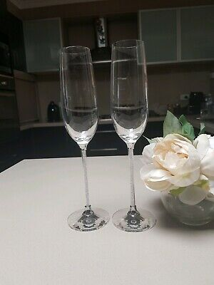 2X Wedding Toasting Glasses Champagne Wine Flutes Crystal Filled Beads Stems(N)