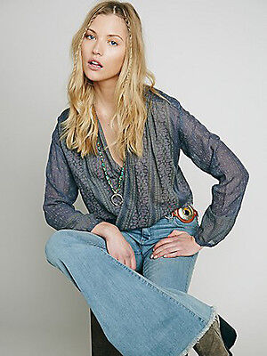 New FP ONE Before Dawn Semi Sheer Top Printed Wrap Blouse Navy/Lavender XS