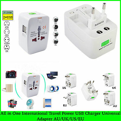 All in One International Travel Power USB Charger Universal Adapter AU/UK/US/EU