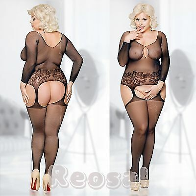 Plus Size - Sexy Netz Body Catsuits Body Stocking, XL-XXXL