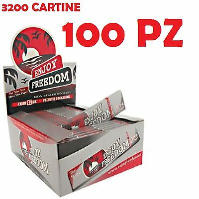 2 BOX 3200 CARTINE  ENJOY FREEDOM SLIM SILVER KING SIZE 100 pz + accendino