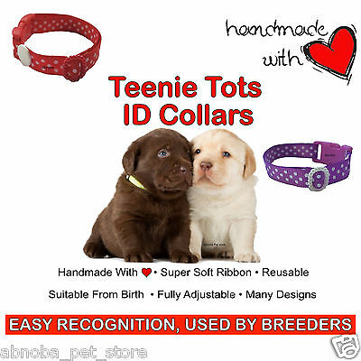 Teenie Tots Whelping ID Puppy Collar Packs Super Soft Ribbon Adjustable 2 Sizes