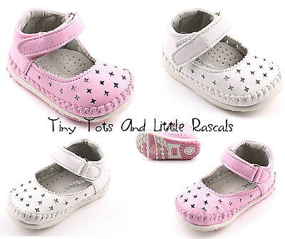 Girls Ballerina First Shoes Occasion Party Leather Insole Size UK 1 - 4 NEW!