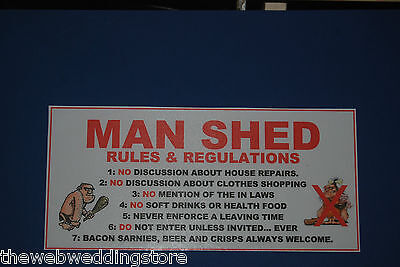 Funny Door/wall Sign - Man Cave Rules - Ideal Work Gift/leaving Gift - Dad Son