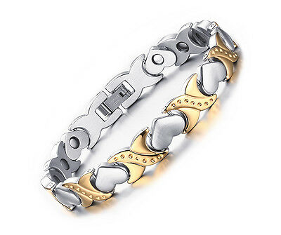Womens Anium Stainless Steel Germanium Magnetic Therapy Bracelet Bangle Heart