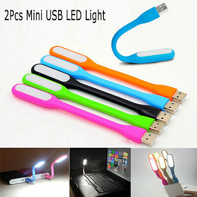 2Pcs  Flexible Bright Mini USB LED Light Lamp for Notebook PC Laptop Reading