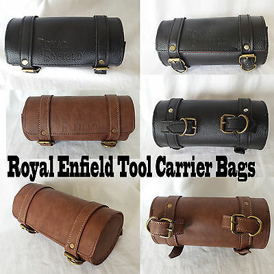 Royal Enfield Bullet Motorcycle Tool Roll Box Kit Leather Small Carrier Bag Logo