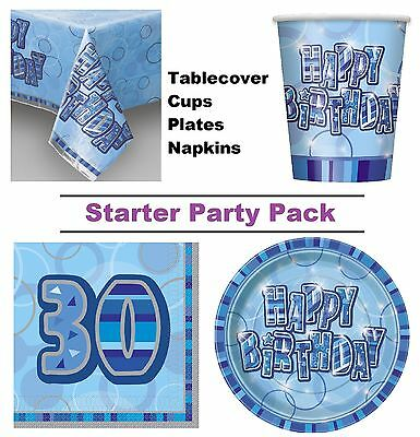 Blue Glitz 30th Happy Birthday 8-48 Guest Starter Party Pack Cups Plates Napkins