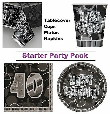 Black Glitz 40th Happy Birthday 8-48 Guest Starter Party Pack Cup Plates Napkins