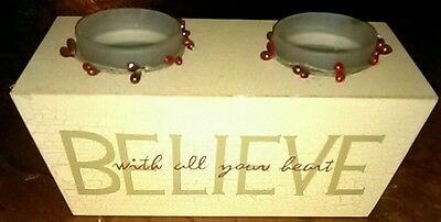 """Home * free ship! Candle Holder """" Believe with all your heart"""""""