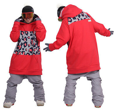 16-17 New arrival December long tall hoodie ski snowboard sports-leo red