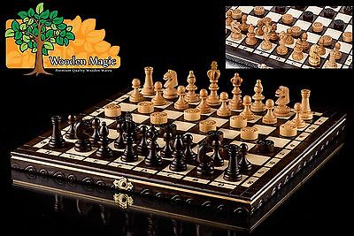 OLYMPIC CHERRY DRAUGHTS - 35cm / 14in Handcrafted Wooden Chess Set with Checkers