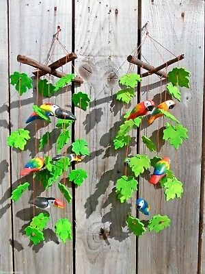 Fair Trade Hand Made Ceramic Parrot Toucan Jungle Wind Chime Windchime Mobile