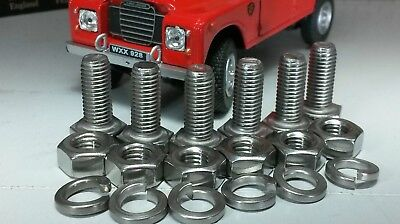 Land Rover Series 2a 3 Bonnet Hinge Stainless Correct UNF Nut Bolt Fitting Set