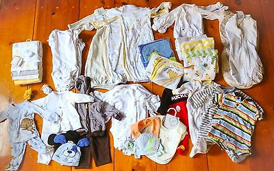 Huge 56 Piece Lot Of Newborn Clothing Neutral Boy Tshirt Blankets Gown Size Nb