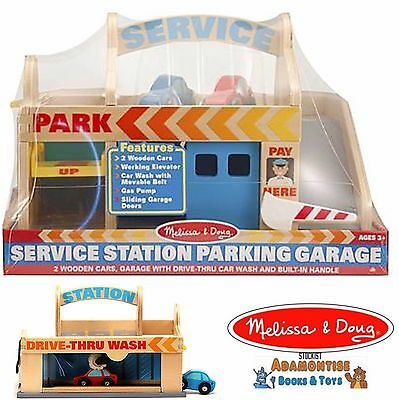 Melissa & Doug Wooden Service Gas Station Parking Garage Car Early Learning Toy