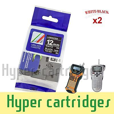 2PK Label Tape Refill Brother TZ-335 TZe-335 White on Black PTouch 12mm x 8m