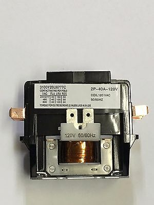 CONTACTOR 40 amp 2 pole 120V AC coil Definite Purpose Relay 40A FL 50 AMP