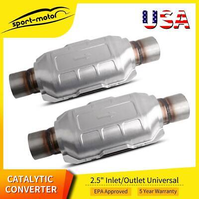 "2PCS 2.5"" Universal Catalytic Converter 83166 for Chevy Silverado 1500 GMC Ford"