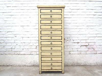 China Schubladenkommode Bisley Turm 13 Schübe Highboard cremeweiß