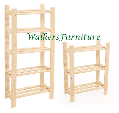 Solid Wood Slatted Storage/Shelving Units | 3 Tier | 5 Tier