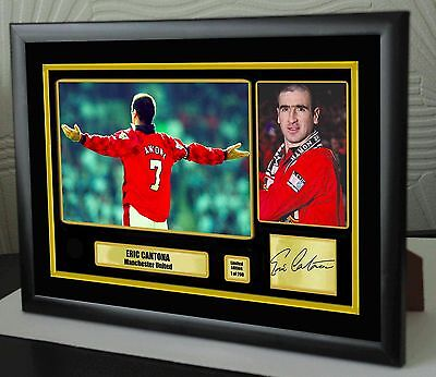 "Eric Cantona Framed Canvas Tribute Signed ""Great Gift or Souvenir"""