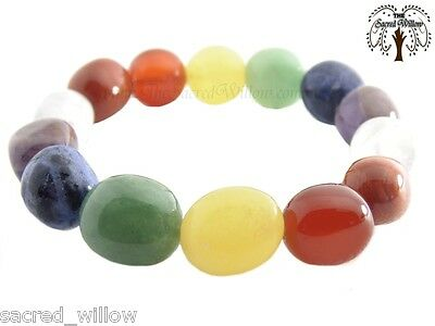 Chakra Gemstone Nugget Stretch Bracelet - Tumbled Stone Natural Crystal Bead