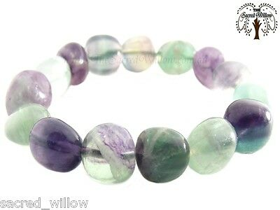 Fluorite Gemstone Nugget Stretch Bracelet - Tumbled Stone Natural Crystal Bead