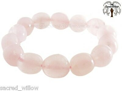 Rose Quartz Gemstone Nugget Stretch Bracelet  Tumbled Stone Natural Crystal Bead