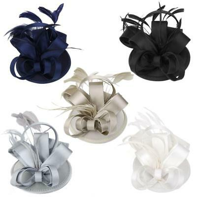 Satin Flower Feather Fascinator Hat Clip Weddings Races Prom Ladies Fascinator