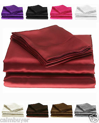 Silky Plain Satin Fitted Sheets or Pillowcases, Single, Double, King