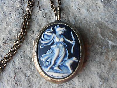 -Goddess Diana With Dog Hand Painted Cameo Bronze Locket, Artemis, Greek Goddess