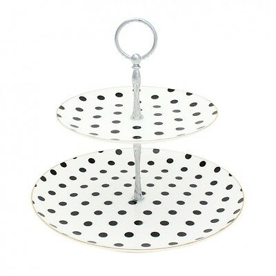 Bombay Duck Loulou Spotty Two Tier Cake Stand Black and White
