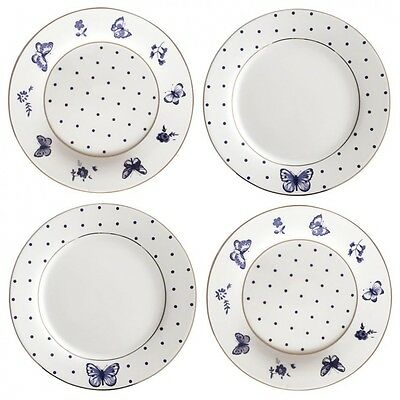 Bombay Duck Miss Peacock Butterfly Tea Plates Set of 4 Blue and White